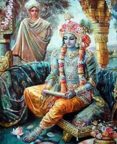 Rukmini Writes A Letter Asking Krishna To Rescue Her. Rukmi, brother of Rukmini arranged for Rukmini's marriage with Sisubalan, the prince of Chedi. Rukmini, who was in love with Krishna by … Hindu Art, Lord Krishna, Art, Indian Art