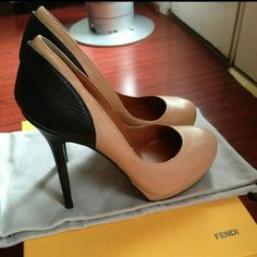 Fendi Anemone Platform Heels...Sz: 37.5 Rare classic Fendi Anemone Back heels, Blush/Nude with Black Lizard Embossed heels,   size 37.5.   Worn twice, some light wear but in overall fantastic condition...Comes with Box...   Purchased in 2014 at Intermix in Beverly Hills for $790 comes with box, feature a round toe, a double platform and a covered stiletto heel.  Heel height: 5.25 in.Platform: 1.25 in.Fabrication: Leather, lizard  Origin: Italy  Retails for $790! FENDI Shoes Heels