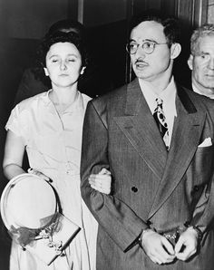 Ethel and Julius Rosenberg leaving New York City Federal Court after their arraignment conspiracy to commit espionage. August 23 1951.