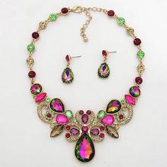 30$ Vitrail topaz Victorian teardrop crystal Necklace set #uniklook
