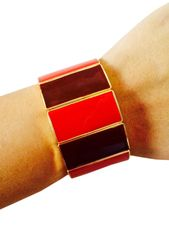 Fitbit Bracelet for Fitbit Flex Fitness Trackers - The JAMIE Red and Gold Color-Blocked Stretch Fitbit Bracelet by FUNKtional Wearables.