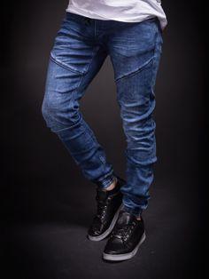 2Y Men Slim Fit Simple Denim Jogger Jeans - Blue