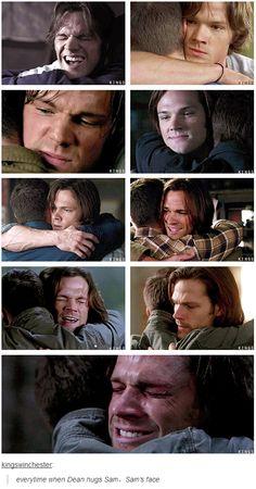 (gif set) Sam's face when Dean hugs him #Supernatural #SamWinchester- dying inside