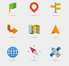 Map, location and navigation icons by Microvector on @creativemarket