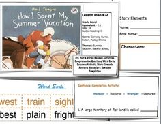 How I Spent My Summer Vacation - Lesson Plan Back To School Pictures, Story Sequencing, Word Sorts, Classroom Games, Elementary Teacher, Reading Activities, First Day Of School, Teacher Resources, Lesson Plans