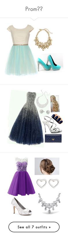 """Prom"" by layna427 ❤ liked on Polyvore featuring Oscar de la Renta, Kate Spade, Carolee, Fabulicious, Prada, Dyeables, Marc by Marc Jacobs, Bling Jewelry, Badgley Mischka and Effy Jewelry"