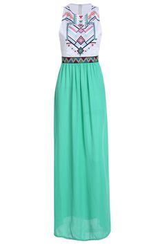 Geometric Print Splicing Sleeveless Maxi Dress WHITE: Maxi Dresses | ZAFUL Price: $16.49