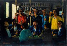 Ben Shahn Barroom Scene with Fishermen