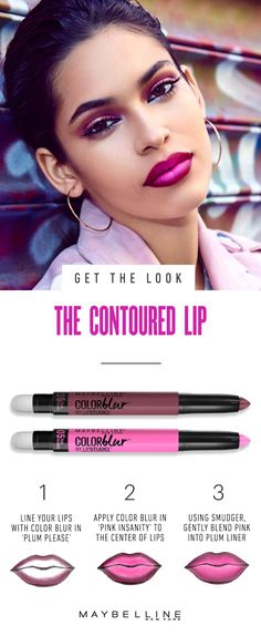 Contouring is hot right now, but let's turn it up for the lips, pretties. This beauty look blends two bold Maybelline Color Blur shades ('Pink Insanity' and 'Plum Please') into one hot and heavy combo. Get on it! Jazz up that pout and click to get the full beauty look.