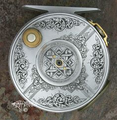 """Custom Hand Engraved Fly Fishing Reel, """"Henshaw Reel"""" item # """"sengr.henshaw.fly-reel1.apr13"""" Approx. 3"""" (7.5 cm) Diameter SOLD"""