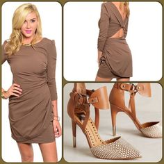 Mocha Cocktail Dress-ON SALE TODAY ONLY This lovely short knit dress features a semi puff shoulder w/ruched side seams and twisted V shaped back. Fully lined. 95% Polyester, 5% Spandex. (This closet does not trade or use PayPal) Ark & Co Dresses