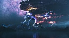 Wallpaper lightning over the volcano eruption