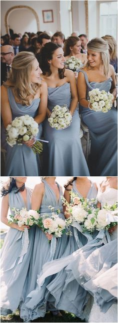 Dusty blue bridesmaid dresses and cream greenery wedding color palette idea / http://www.deerpearlflowers.com/dusty-blue-wedding-color-combos/ #weddingcolors #weddingideas #bluewedding #dustyblue