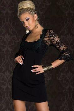 Black Floral Lace Splice Half Sleeves Mini Dress