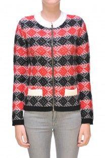 MSGM - Cardigan in misto lana con pattern :: Glamest Luxury Outlet Online Donna