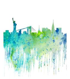 Blue Watercolor Skyline New York Cityscape, Watercolor Art Print ...