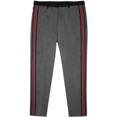 Dolce & Gabbana Grey Striped Slim-leg Wool Trousers - Size W36 ($850) ❤ liked on Polyvore featuring men's fashion, men's clothing, men's pants, men's casual pants, dolce gabbana mens pants, mens grey dress pants, mens gray dress pants, mens adjustable waist pants and mens wool pants