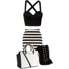 Strapy black crop top, with high waist black and white striped skirt, white purse, and some rebel black heels