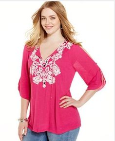 HOT PINK PINATA Embellished Peasant Top Blouse Shirt INC Plus Size 2X $79 - NWT #INCInternationalConcepts #Blouse #Casual