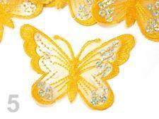 Aufnäher Aufbügler Bügelbild Applikation Schmetterling groß Pailletten bestickt