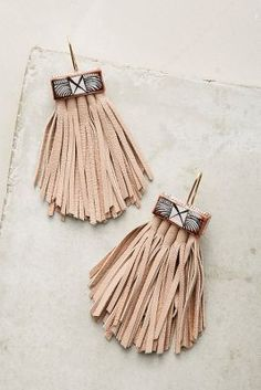 Caged Leather Tassel Earrings | Anthropologie