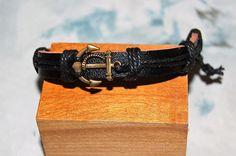 bracelet+homme+/+femme+réglable+cuir+et+médaille+de+bronze+marin,ancre+marine,++breloque,+amulette