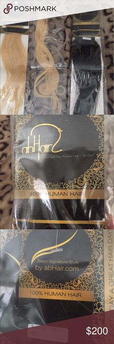 New AB Hair Extensions NEW AB Authentic Human Hair extensions 16-18 inches I have one pack in Black and 2 packs in blonde AB Hair Other