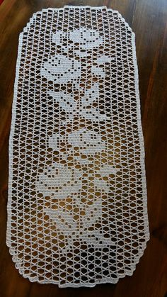 Vintage olive - khaki hand Crocheted cotton table runner table topper tray cloth crochet scarf with Crochet Table Runner Pattern, Crochet Bedspread Pattern, Crochet Square Patterns, Crochet Tablecloth, Doily Patterns, Crochet Designs, Filet Crochet, Crochet Motif, Crochet Doilies