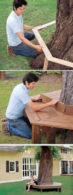 Easy DIY Backyard Projects with Lots of Tutorials – For Creative Juice DIY Tree Bench: Build a wooden bench around the tree in your backyard. It provides a great place for your kids to hang out, to read, eat a popsicle and have a rest on summer night. Backyard Playground, Backyard Patio, Backyard Landscaping, Landscaping Ideas, Patio Ideas, Garden Ideas, Playground Set, Backyard Ideas For Kids, Toddler Playground