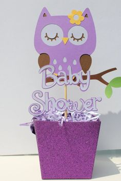 Baby shower sleeping owl centerpiece purple by cricutcrafter1