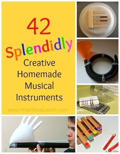 42 of the coolest DIY Musical instruments for kids! I never would have thought of 12 - so simple! My preschoolers will love these crafts!