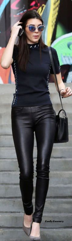 Chic In The City- Kendall Jenner looks sleek and slender in leather leggings and a fitted top.- | LadyLuxuryDesigns