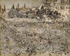 Vincent van Gogh (Dutch, 1853-1890), A Garden in Provence, 1888. Pencil, quill pen and brown ink on paper, 49 x 61 cm. Oskar Reinhart Art Collection, Winterthur