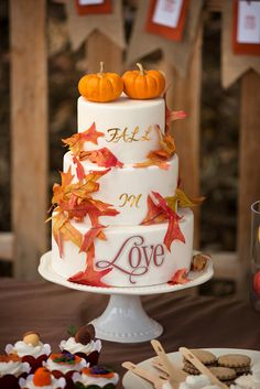Such an amazing cake at a Fall Bridal Shower! See more party ideas at CatchMyParty.com! #partyideas #fallwedding