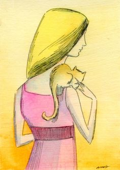"""»✿❤️Pink & Yellow❤️✿« """"Cat and her lady"""" by Nicole Wong"""