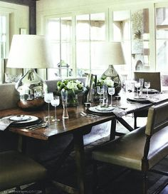 Great multi-task space idea: Dining table as console table + lighting and bench seating..can also be used as a desk or game table.