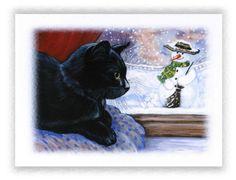 6 PACK GLITTERY BLACK CAT CHRISTMAS CARDS WITH ENVELOPES ANNE MARSH ART | eBay