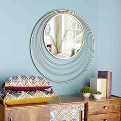 Miroir rond en métal doré D.90cm ...