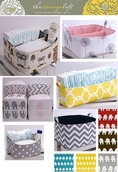 cestas_thestorageloft - Sore Tutorial and Ideas Diy Storage Boxes, Fabric Boxes, Baby Sewing Projects, Cardboard Crafts, Baby Crafts, Baby Decor, Baby Accessories, Diaper Caddy, Cleaning