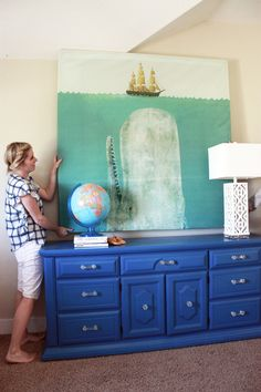 Turn a shower curtain into giant art!