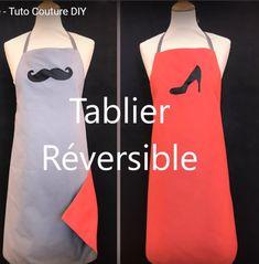 Tutoriel couture, gratuit, en français, vidéo. Comment coudre un tablier réversible pour la Saint Valentin. Un cadeau original à offrir à votre moitié pour faire la cuisine à deux :) ! Suivez le tuto de couture en cliquant sur l'image