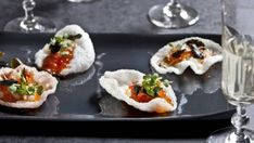 These crisp, decadent canapes are layered with intense flavours and textures but are super light and refreshing. Assemble them just before serving, as soggy prawn crackers will ruin the fun.