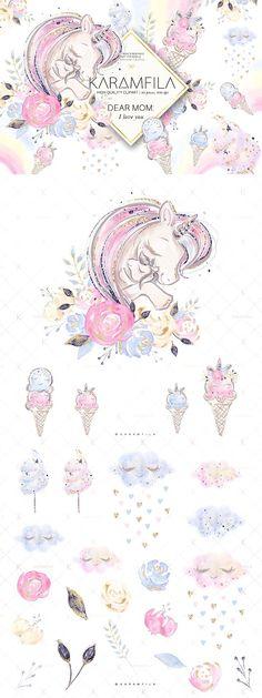 Mother and Baby Unicorns Clipart by Karamfila on @creativemarket