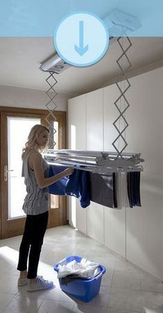 50 Drying Room Design Ideas That You Can Try In Your Home Small Laundry Room Ideas are a lot of fun if you find the right ones and use them adequately. With the right approach and some nifty ideas you can take things to the next level. Small Laundry Rooms, Laundry Closet, Laundry Room Organization, Laundry Room Design, Laundry In Bathroom, Design Kitchen, Basement Laundry, Cleaning Closet, Ironing Station