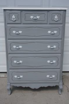 Grey french provencial chest of drawers