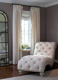 For master bedroom _ Elegant bedroom features a linen tufted French chaise lounge next to a brass quatrefoil table, . Room Decor, Transitional Bedroom, Interior Design, Master Bedrooms Decor, Bedroom Decor, Small Master Bedroom, Home, Interior, Home Decor