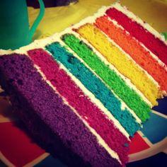 soooo pretty and looks yummy!  Rainbow Birthday Cake