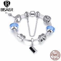 925 Sterling Silver Cinderella's Signature, Handbag Pendant & Heart Original Charm Bracelet Women Sterling Silver Jewelry GYB015 #Affiliate #silverjewelry