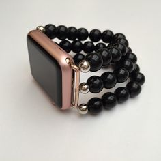 BandyLand™ Apple Watch Band - 38mm or 42mm, featuring black and silver beads. Custom-made to fit, no-clasp, stretches over the hand for ease by BandyLandStore on Etsy https://www.etsy.com/listing/399621837/bandyland-apple-watch-band-38mm-or-42mm