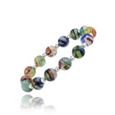 Sterling Silver Venetian Murano Glass Beaded Millefiori Flower Stretch Bracelet $14.99